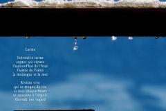 Gouttes, fondant de la neige, sur une balustrade. La vallée est visible dans la goutte. Poème sur la rondeur d'une larme.